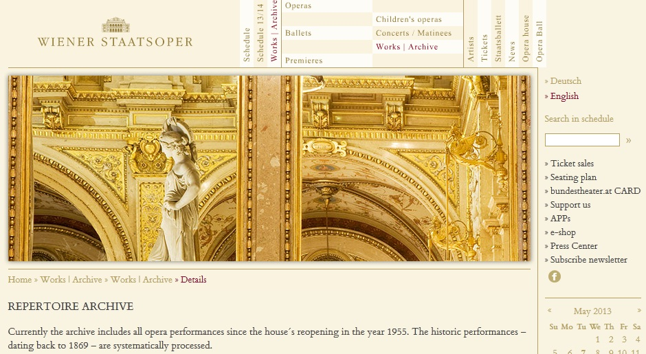 Archive dedicated page of Wiener the Staatsoper website