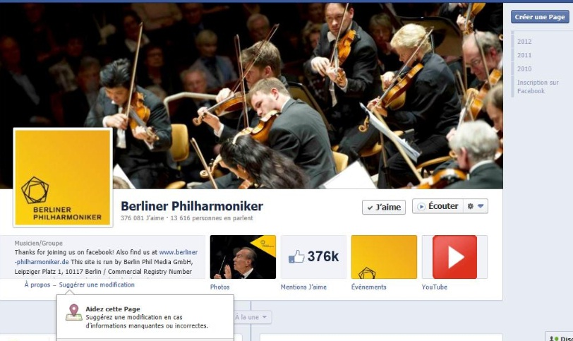 Berliner_Philarmoniker is the classical music institution with the largest number of Facebook Fans