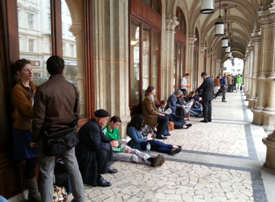 Line for standing area in the Vienna State Opera