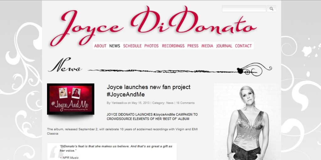 Annoucement of Joyce di Donato Crowdsourcing campaign on Joyce's website
