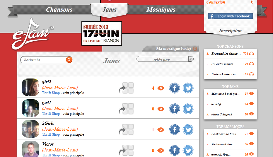 the web version of e-Jam is organised in 3 tabs and a right sidebar