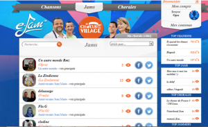 onglet jams de l'application web ejam