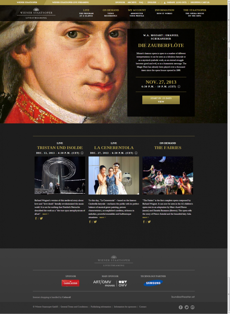 home page of the new live dedicated portal of the Wiener Staatoper