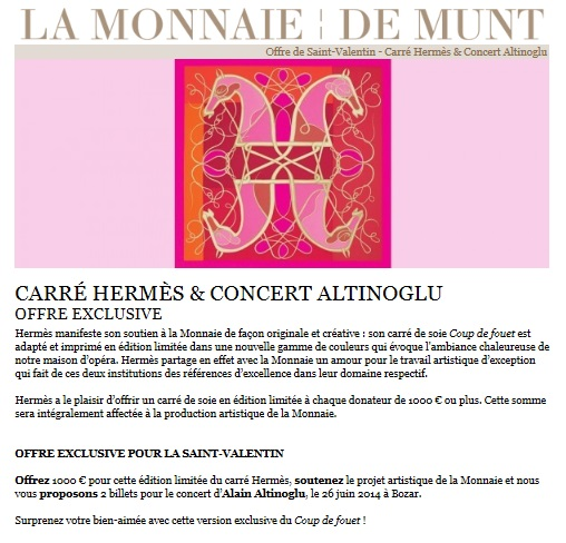 Special offer for Valentine's Day : cross-selling operation of La Monnaie and Hermès
