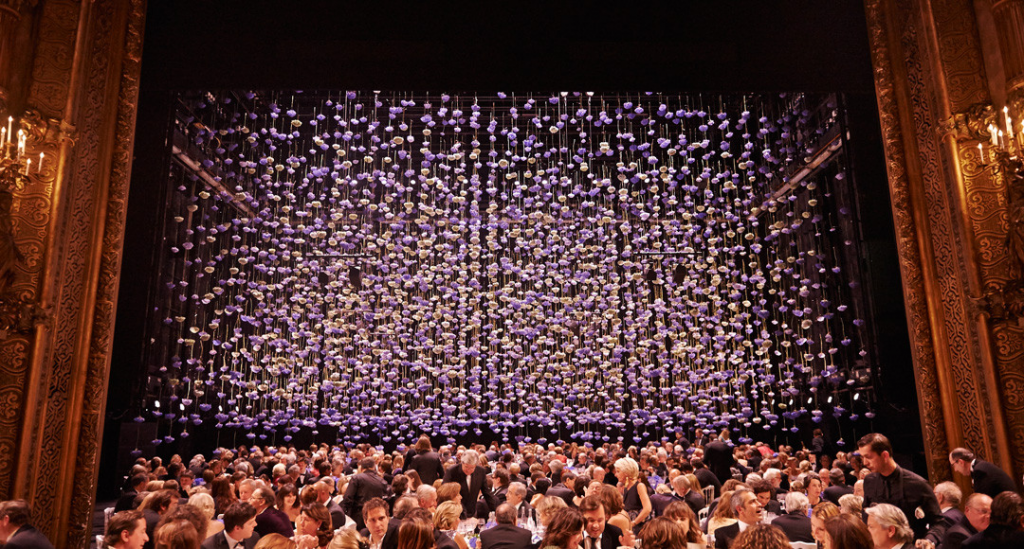 flower installation commissioned by Hermes for Opera de la Monnaie