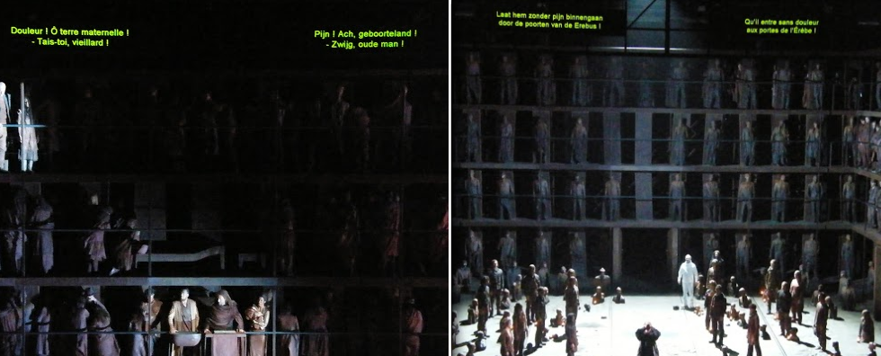 subtitles language can be a touchy question : in la Opera de la Monnaie (Brussels), language positions alternate regularly