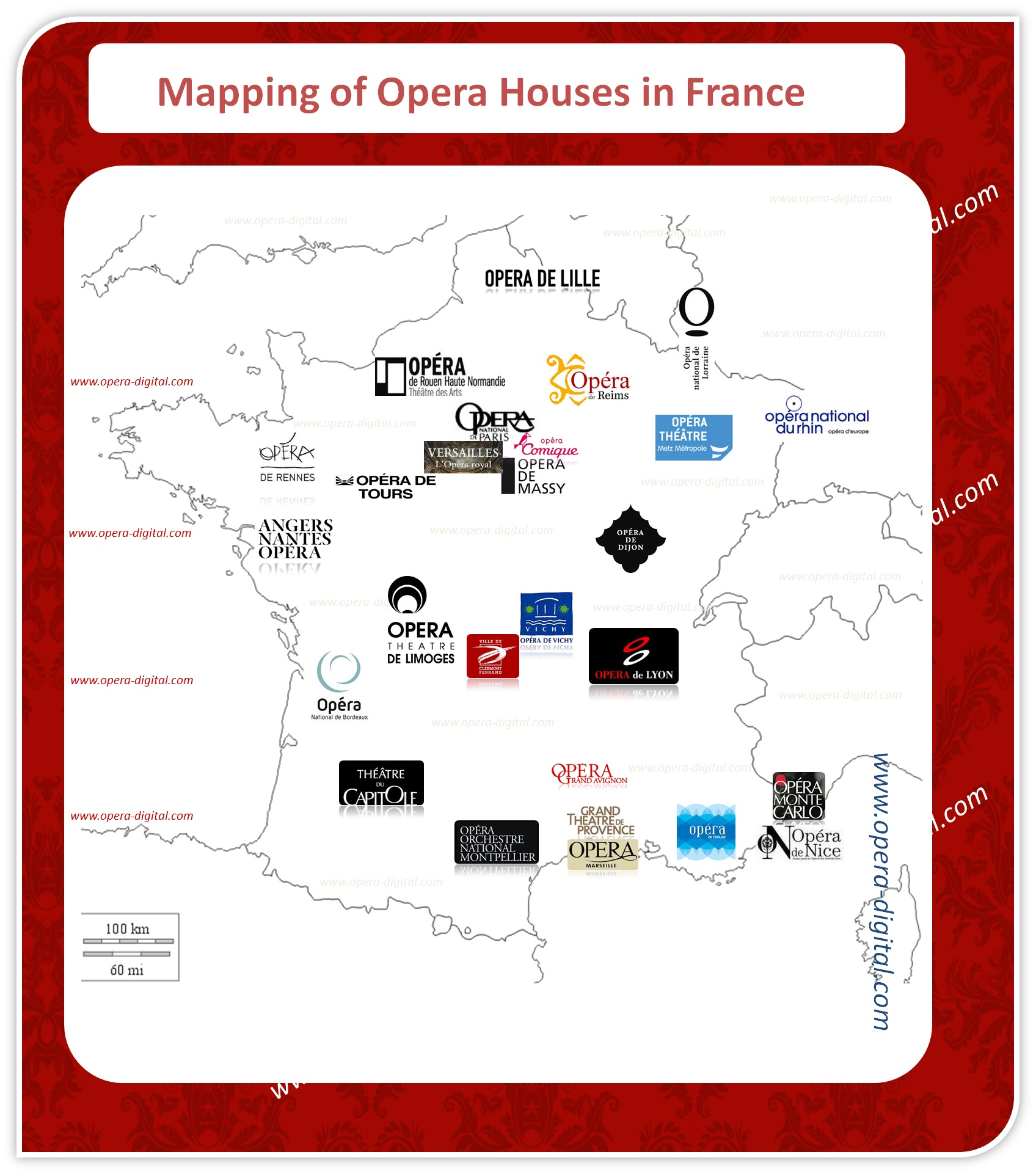 Mapping of opera houses in France