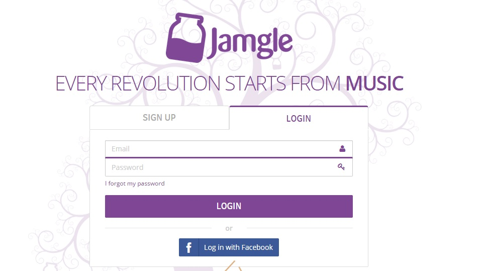 Home page of Jamgle music platform