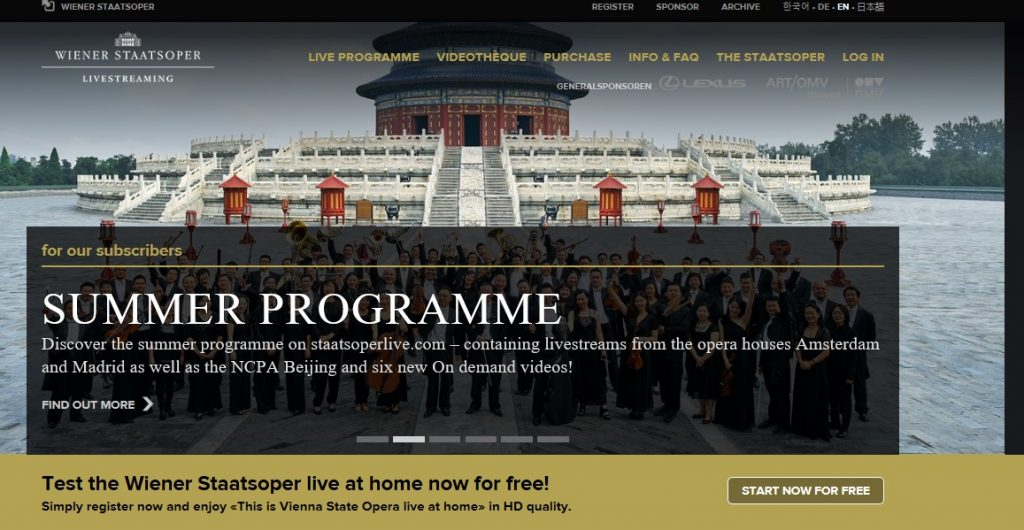 Staatsoperlive provides a summer programme