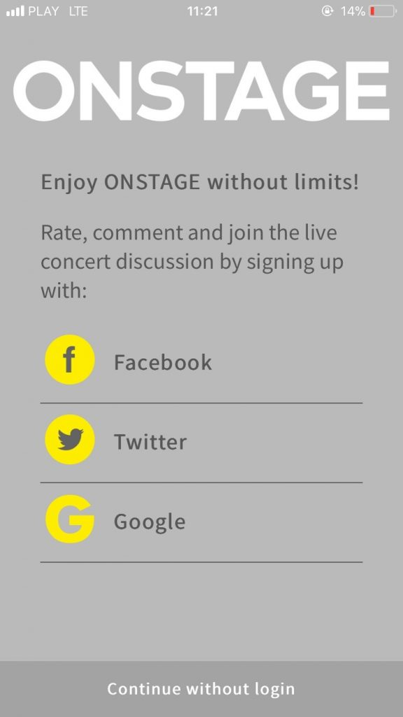 On stage application enable to viewers to discuss during the performance